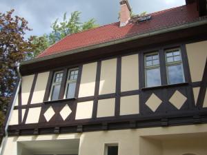 Detail rekonstruiertes Fachwerk